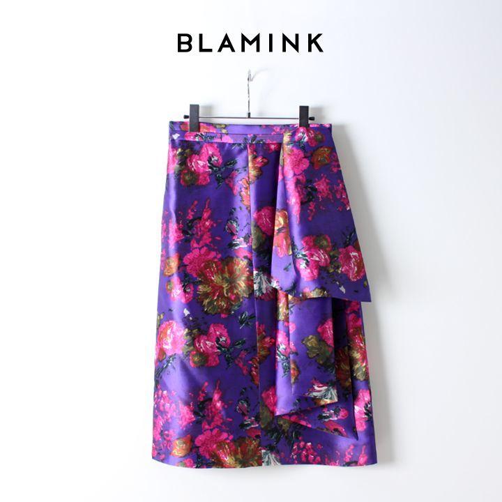 画像1:  【50%OFFセール|132,000円→66,000円】  BLAMINK ブラミンク シルク フラワープリント ラッフルスカート (1)