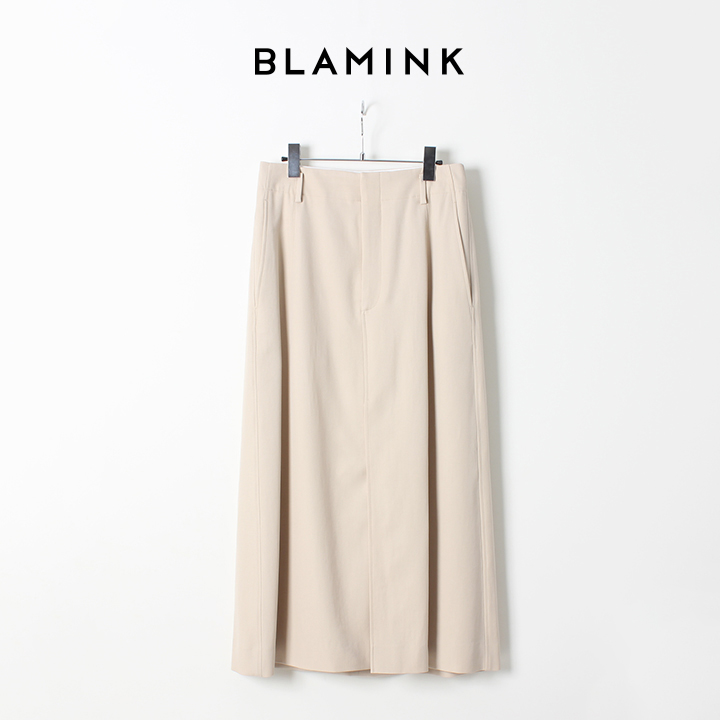 画像1:  【50%OFFセール|93,500円→46,750円】  BLAMINK ブラミンク ウールコットン ロングトラペーズスカート{7924-230-0136-BEG-AIS} (1)