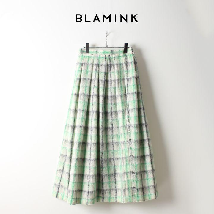 画像1: BLAMINK ブラミンク モヘヤウールシャギーチェック ギャザースカート{7924-230-0168-OFF WHITE-AIA} (1)