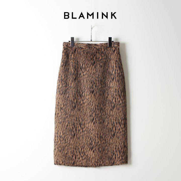 画像1: BLAMINK ブラミンク ウールレオパード タイトスカート{7924-230-0170-MD.BROWN-AIA} (1)