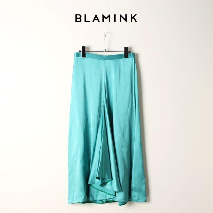 画像1: BLAMINK ブラミンク レーヨン フロント フレアースカート{7924-230-0179-KLY-AIA} (1)