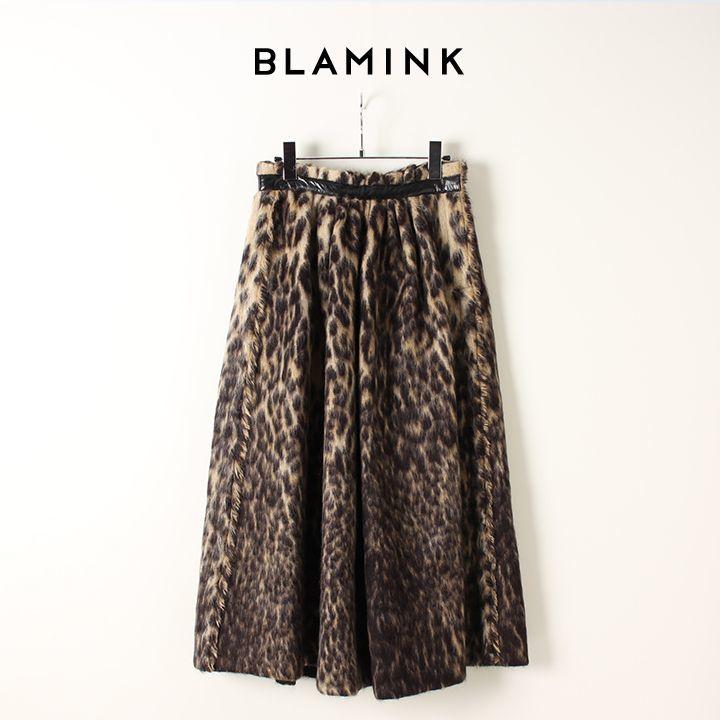 画像1: BLAMINK ブラミンク ウールナイロンシャギー レオパードギャザースカート{7924-230-0184-BEG-AIA} (1)