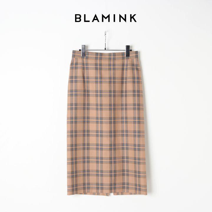 画像1:  【40%OFFセール|71,500円→42,900円】  BLAMINK ブラミンク コットンチェックタイトスカート{7924-230-0216-BEG-BJS} (1)