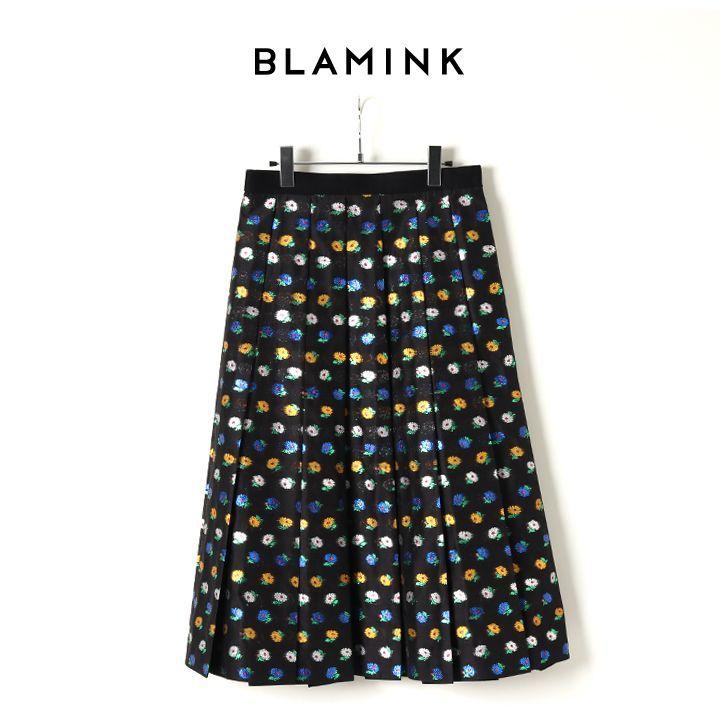 画像1: BLAMINK ブラミンク ラメフラワーハンドプリーツスカート{7924-230-0222-BLK-BJA} (1)