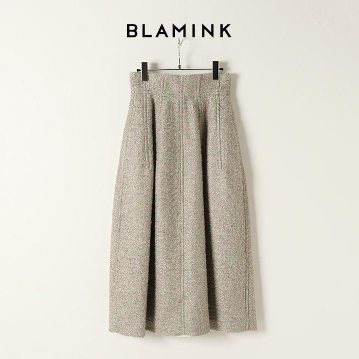 画像1: BLAMINK ブラミンク ラメツィードウエストダーツフレアスカート{7924-230-0224-LT.PINK-BJA} (1)