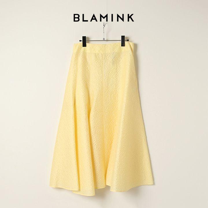 画像1: BLAMINK ブラミンク コットンシルクナイロンバックジップフレアスカート{7924-230-0249-YEL-BAS} (1)