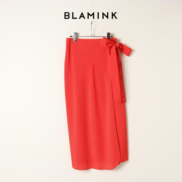 画像1: 【 30%OFF セール|88,000円→61,600円】 BLAMINK ブラミンク レーヨンストライプラップスカート{7924-230-0250-RED-BAS} (1)
