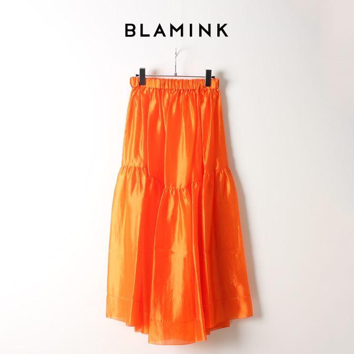 画像1: BLAMINK ブラミンク シルクギャザー ロングスカート{7924-299-0161-ORANGE-AIA} (1)