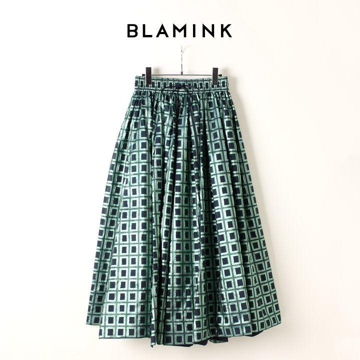 画像1: BLAMINK ブラミンク ポリエステルジャガード ギャザースカート{7924-299-0178-NVY-AIA} (1)