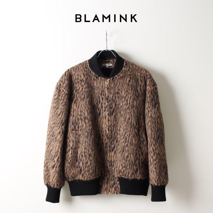 画像1: BLAMINK ブラミンク ウールレオパード リブブルゾン{7925-230-0169-MD.BROWN-AIA} (1)
