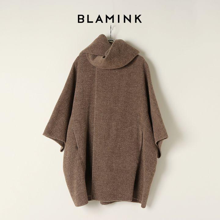 画像1: BLAMINK ブラミンク ウールナイロンドルマンスリーブマフラーカラーコート{7925-230-0273-MBR-BAA} (1)