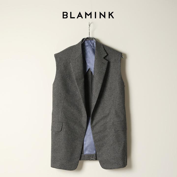 画像1: BLAMINK ブラミンク ウールラペルベスト{7925-230-0274-GRY-BAA} (1)
