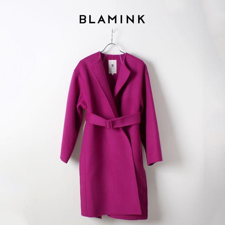 画像1: BLAMINK ブラミンク ウール ダブルフェイス ノーカラー ラップコート{7925-299-0132-WIN-AHA} (1)