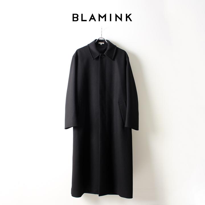 画像1: BLAMINK ブラミンク ウールステンカラー ロングコート{7925-299-0158-BLACK-AIA} (1)