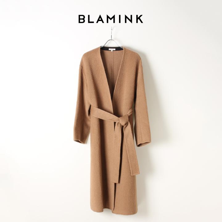 画像1: BLAMINK ブラミンク キャメル Vネック ダブルフェイス ラップコート{7925-299-0167-BEIGE-AIA} (1)