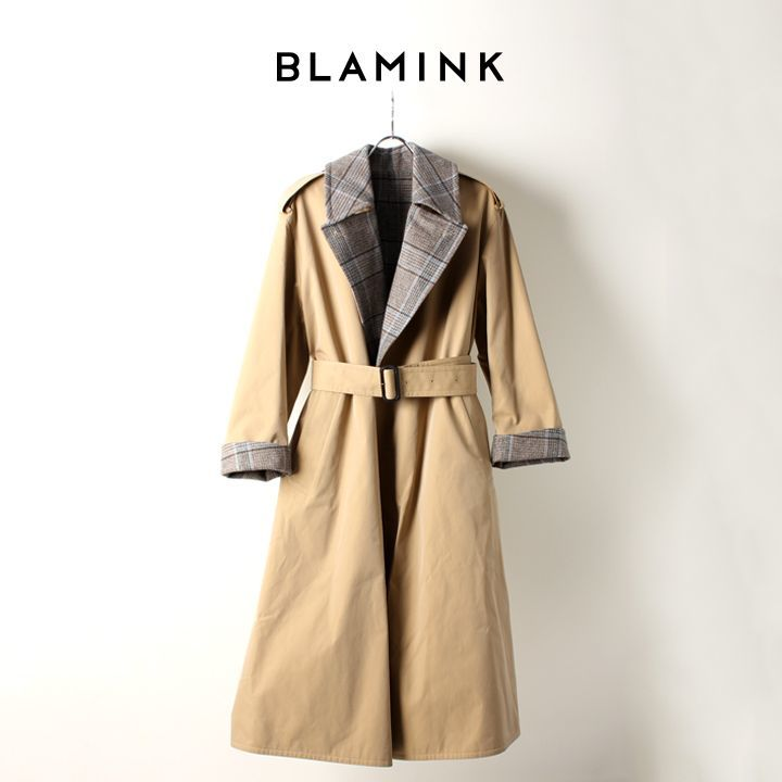 画像1: BLAMINK ブラミンク コットンシルク ウールチェック リバーシブルコート{7925-299-0172-BEIGE-AIA} (1)