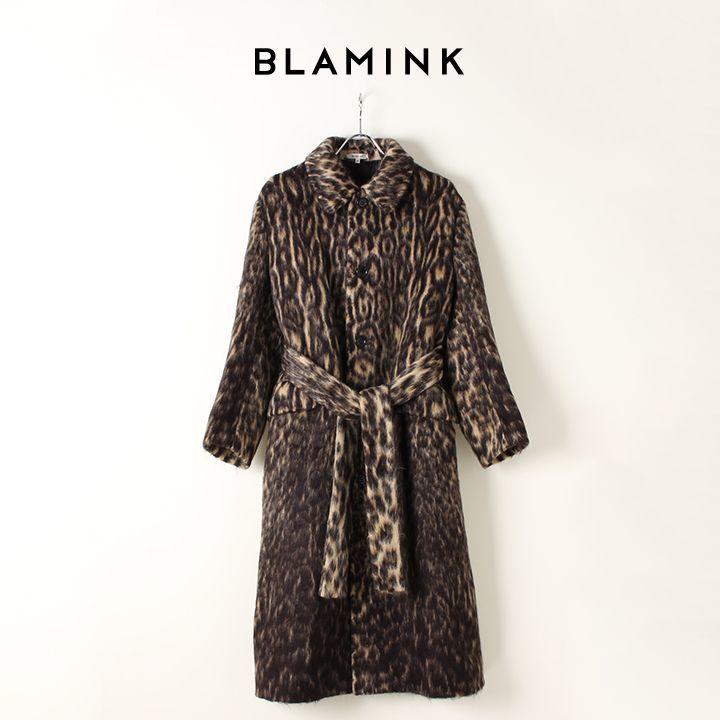画像1: BLAMINK ブラミンク ウールアルパカシャギー レオパードステンカラーコート{7925-299-0187-BEG-AIA} (1)