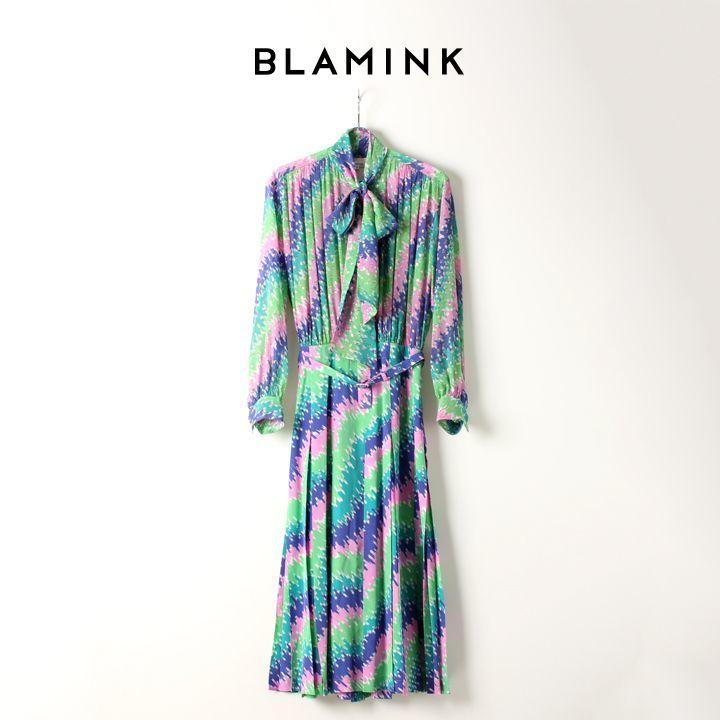 画像1: BLAMINK ブラミンク シルクポリエステル ラメプリント ボウワンピース{7926-230-0178-KELLY-AIA} (1)