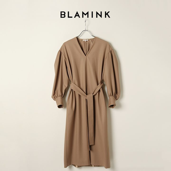 画像1: 【 ポイント10倍 】BLAMINK ブラミンク ウールVネックロングスリーブワンピース{7926-230-0233-BEG-BJA} (1)
