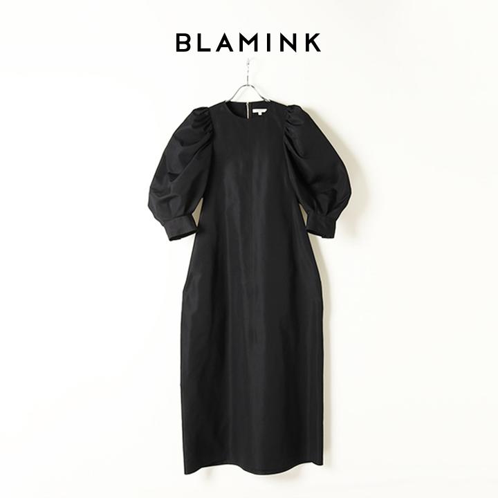 画像1: BLAMINK ブラミンク コットンシルククルーネックタックスリーブワンピース{7926-230-0237-BLK-BAS} (1)
