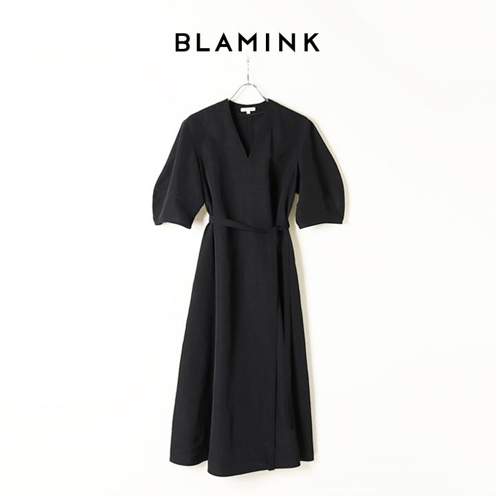 画像1: BLAMINK ブラミンク レーヨンリネンVネックフレアショートスリーブワンピース{7926-299-0244-BLK-BAS} (1)