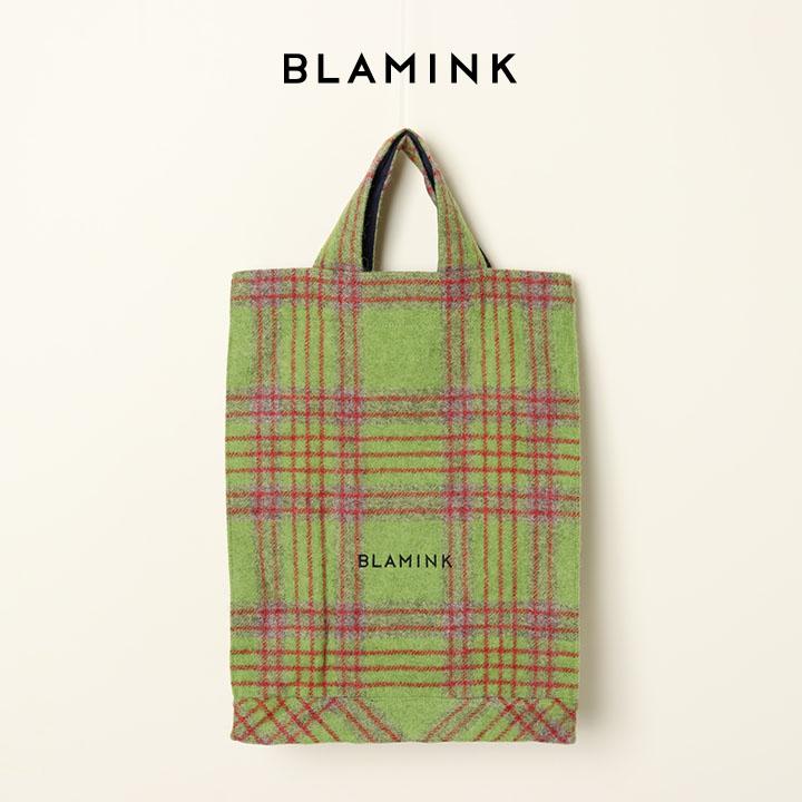 画像1: BLAMINK ブラミンク アルパカウールチェックトートバッグ{7932-299-0090-OLV-BJA} (1)