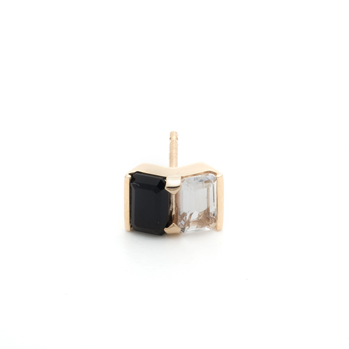 画像1: Hirotaka ヒロタカ Bird Of Paradise Stud Pierce with Onyx & White Topaz{-BJA} (1)