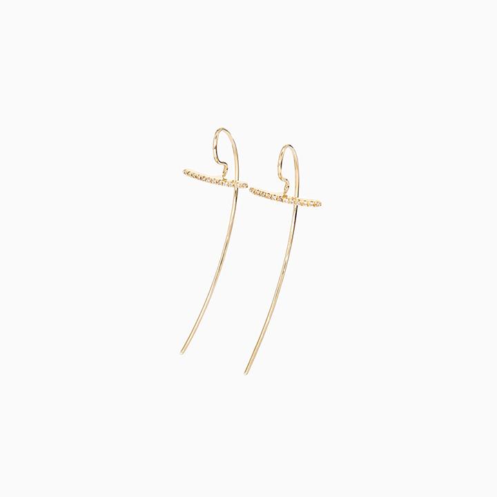画像1: Hirotaka ヒロタカ Gossamer Short Diamond Hook Pierce{-AIA} (1)