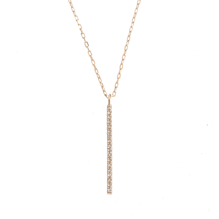 画像1: Hirotaka ヒロタカ Vertical Diamond Bar Necklace(Yellow Gold){-BJS} (1)