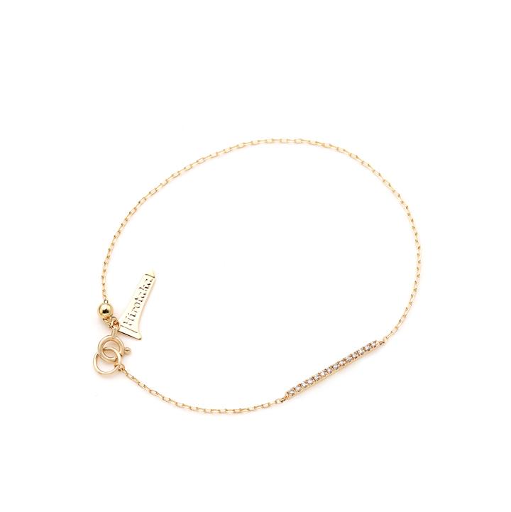 画像1: Hirotaka ヒロタカ Gossamer Diamond Short Bar Bracelet(Yellow Gold){-BJS} (1)