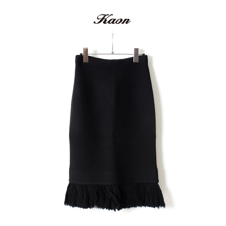 画像1: Kaon カオン Fringe Knit Skirt{KA15-KTFRSK-BLK-AEA} (1)