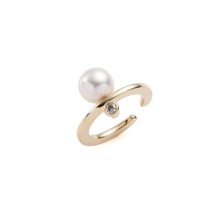 画像1: Hirotaka ヒロタカ Bumble Bee Pearl Diamond Ear Cuff{-BAS} (1)
