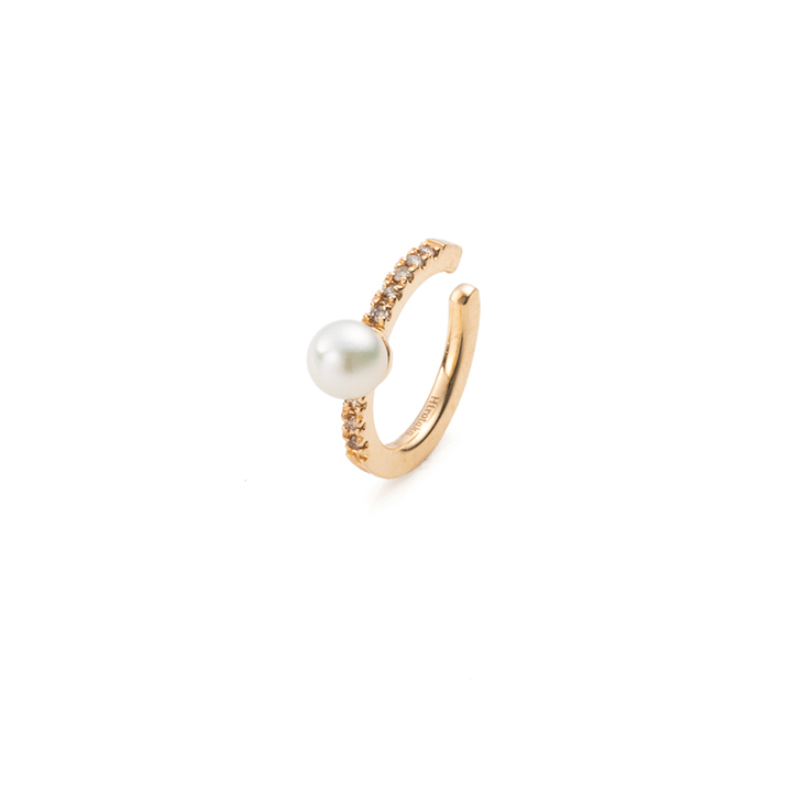 画像1: Hirotaka ヒロタカ Akoya Pearl Diamond Ear Cuff{-BAS} (1)