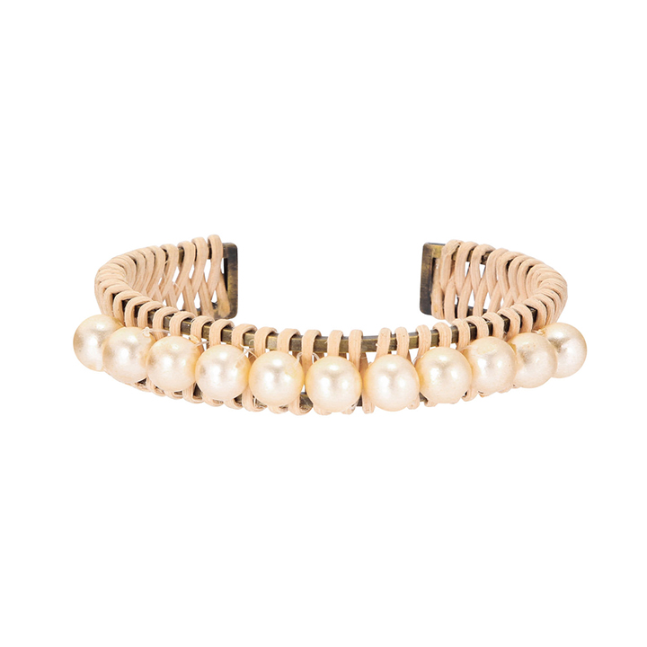 画像1: ADER.bijoux アデルビジュー RATTAN pearl bangle{-AIS} (1)