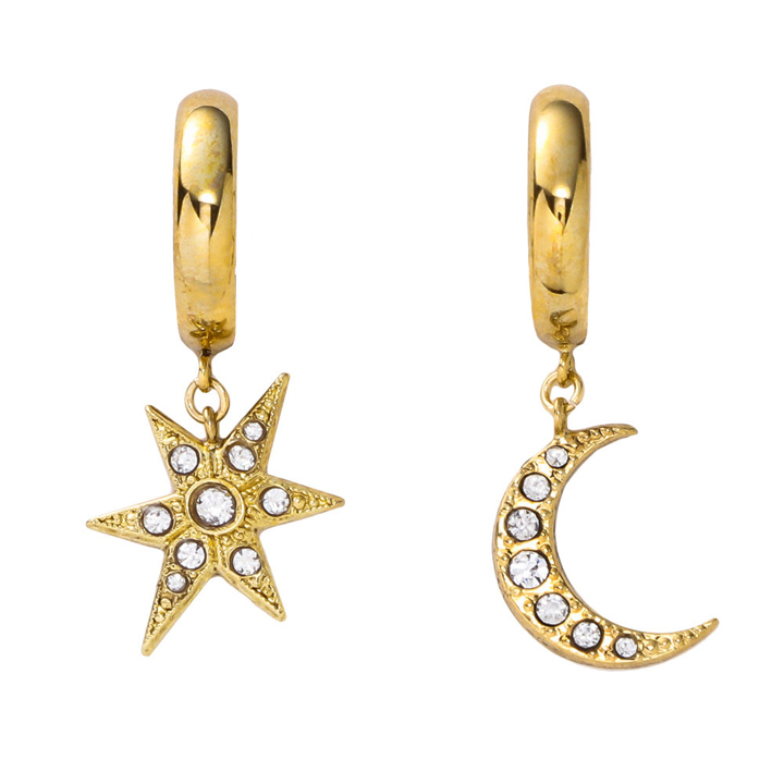 画像1: ADER.bijoux アデルビジュー MOON&STAR hoop pierce (gold){-AHA} (1)