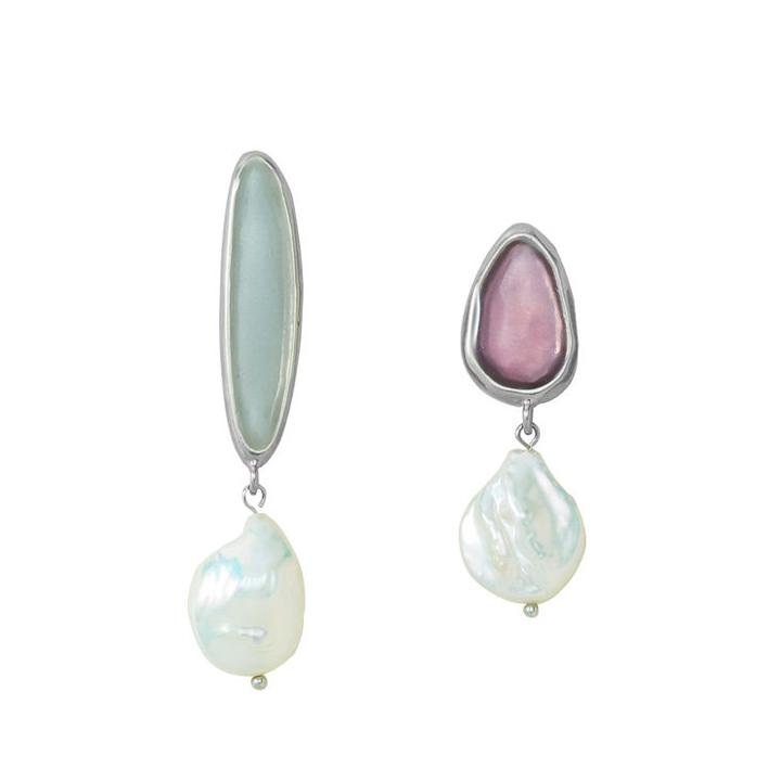 画像1: ADER.bijoux アデルビジュー BLOCK PEARL pearl pierce{-AIA} (1)